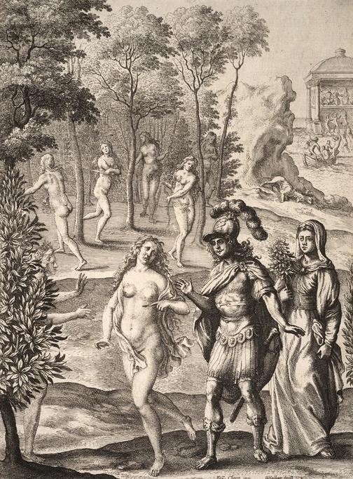 Среди теней умерших от любовных ран, Эней замечает образ царицы Дидоны